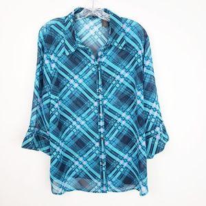 Liz Claiborne Plaid Button Up Plus Size Blouse Top